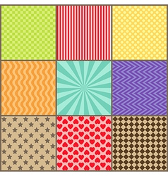 Set of nine simple geometric patterns vector image vector image
