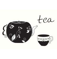 Tea cup and teapot background vector image vector image