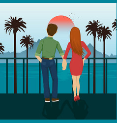 young couple holding hands standing on seafront vector image