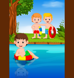 children swimming in the river vector image