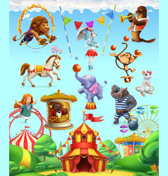 circus funny animals set of icons 3d icon set vector image vector image