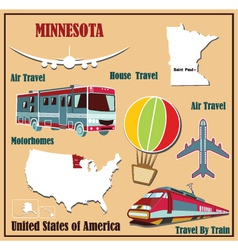Flat map of Minnesota vector image vector image