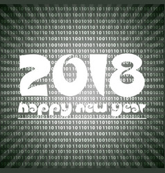 happy new year 2018 on grayscale stripped binary vector image