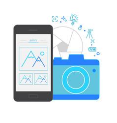 mobile application interface camera vector image