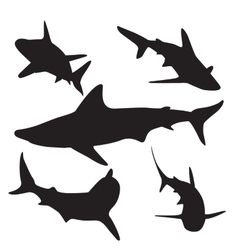 Shark silhouettes set vector image