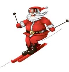 skiing santa isolated vector image vector image