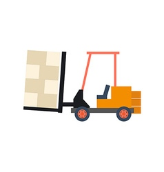 Transport flat forklift icon isolated on white vector image vector image