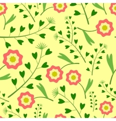 Yellow Pattern with Flowers and Grass vector image vector image