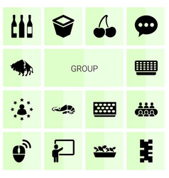 14 group icons vector