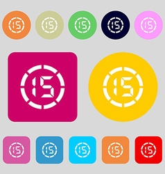 15 second stopwatch icon sign 12 colored buttons vector image