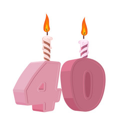 40 years birthday figures with festive candle for vector image