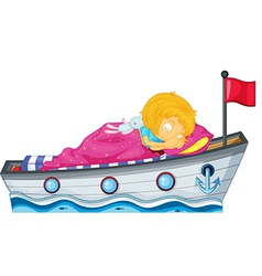 A girl sleeping in a ship with a pink blanket vector