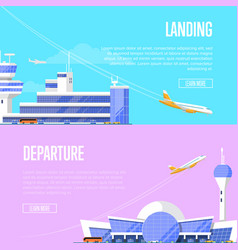 aircraft landing and airport departure flyers vector image