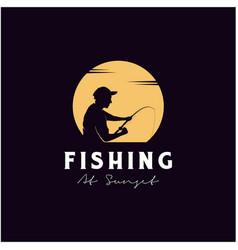 Angler fishing silhouette logo design at sunset vector