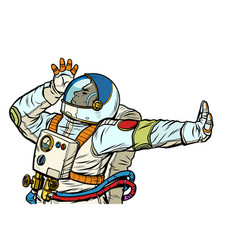 Astronaut in a spacesuit gesture denial shame vector