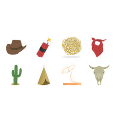 attributes of the wild west icons in set vector image