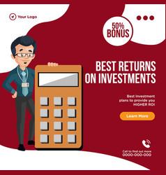 Banner design of best returns on investments vector