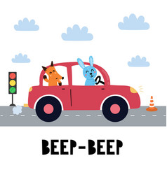 beep print with cute rabbit and fox driving vector image
