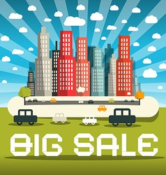 Big Sale with City and Cars vector image