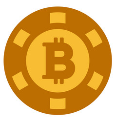 Bitcoin casino chip flat icon vector