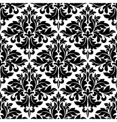 Black and white floral arabesque pattern vector image
