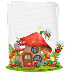 Blank paper with mushroom house and animal garden vector