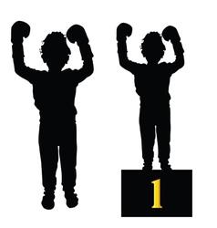 Boy boxing silhouette vector