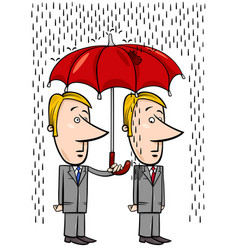 Businessmen under umbrella cartoon vector
