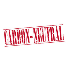 Carbon-neutral red grunge vintage stamp vector
