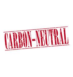 Carbon-neutral red grunge vintage stamp vector