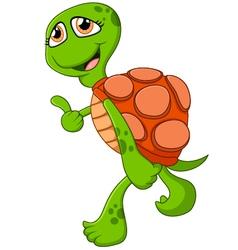 Cartoon cute turtle giving thumb up vector