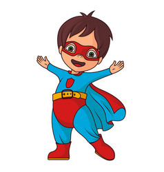 cheerful super hero boy vector image