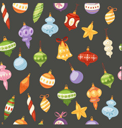 christmas and new year balls seamless pattern vector image