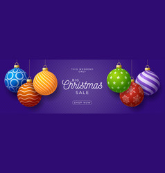 christmas horizontal sale promo banner holiday vector image
