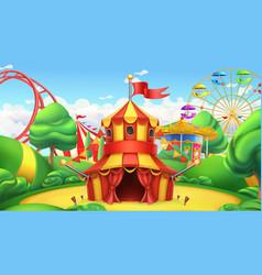 Circus tent amusement park 3d landscape vector