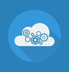 Cloud Computing Flat Icon Cloud with Gears vector image