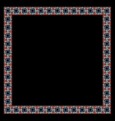 Color geometric ethnic frame on black vector