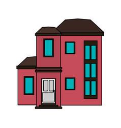 colorful image cartoon facade modern style vector image