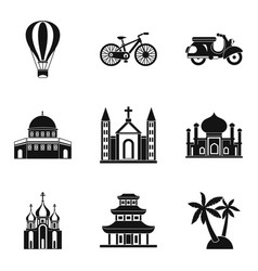 Cultural distinction icons set simple style vector