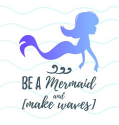 cute mermaid character silhouette vector image