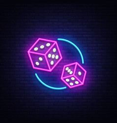 dice neon sign design template game vector image