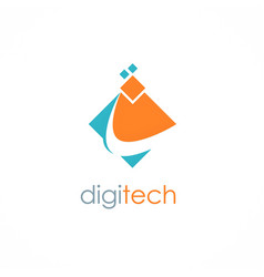Digital technology logo vector