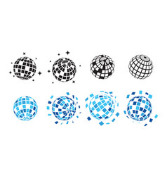 disco ball collection set graphic design template vector image