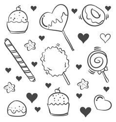 Doodle of candy various hand draw vector