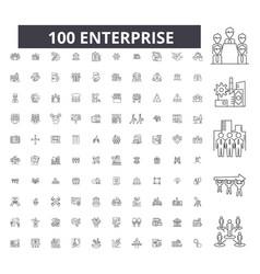 enterprise editable line icons 100 set vector image