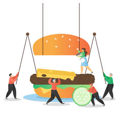 fast food restaurant services concept flat vector image