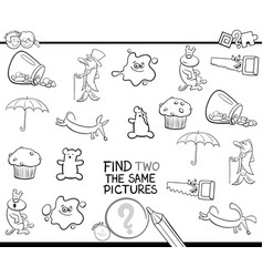 Find two the same pictures coloring page vector
