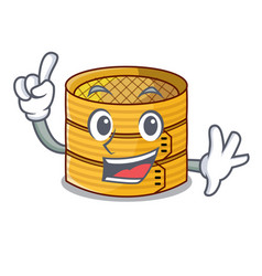 Finger wooden steamed food container on cartoon vector
