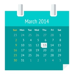 flat calendar page for march 2014 vector image