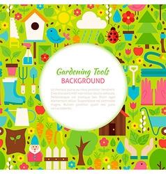 Flat gardening tools pattern background vector